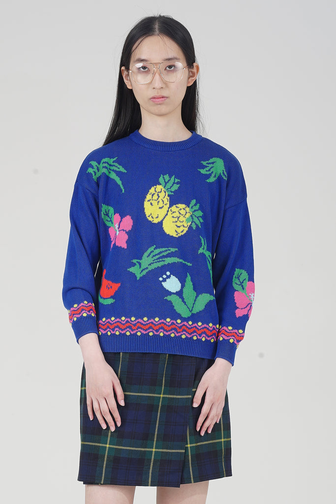 Vintage 90's Benetton Blue Print Knit Jumper