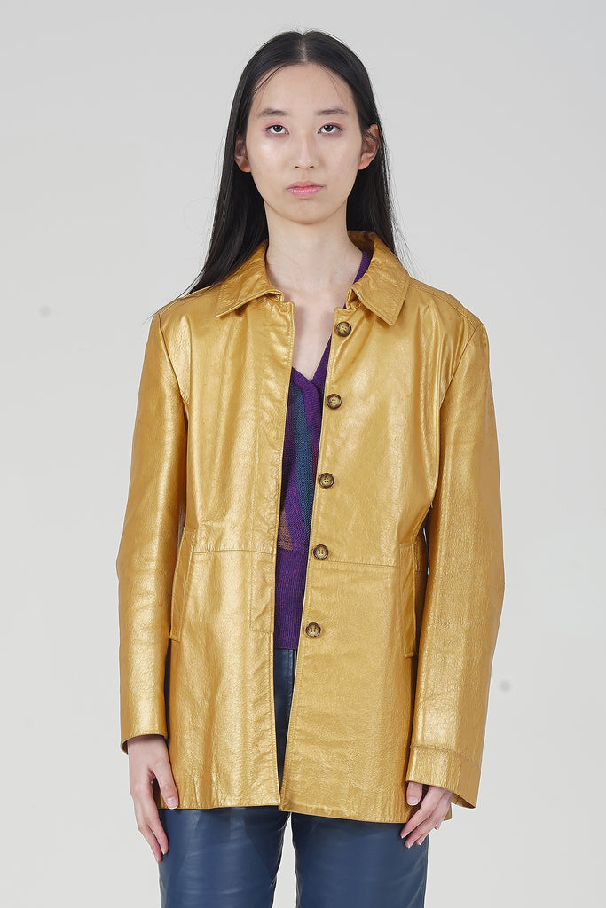 Vintage 90's Trussardi Gold Metallic Leather Coat