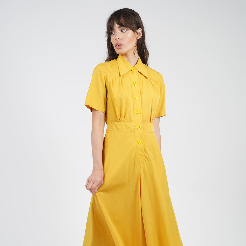 Vintage Late 1970's Yellow Cacharel Shirt Dress