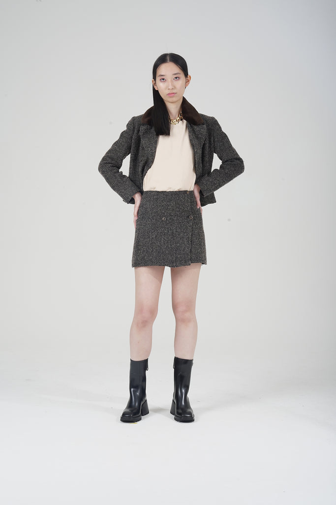 Vintage 90's Pinko Double Breasted Tweed Skirt Co-ord Suit