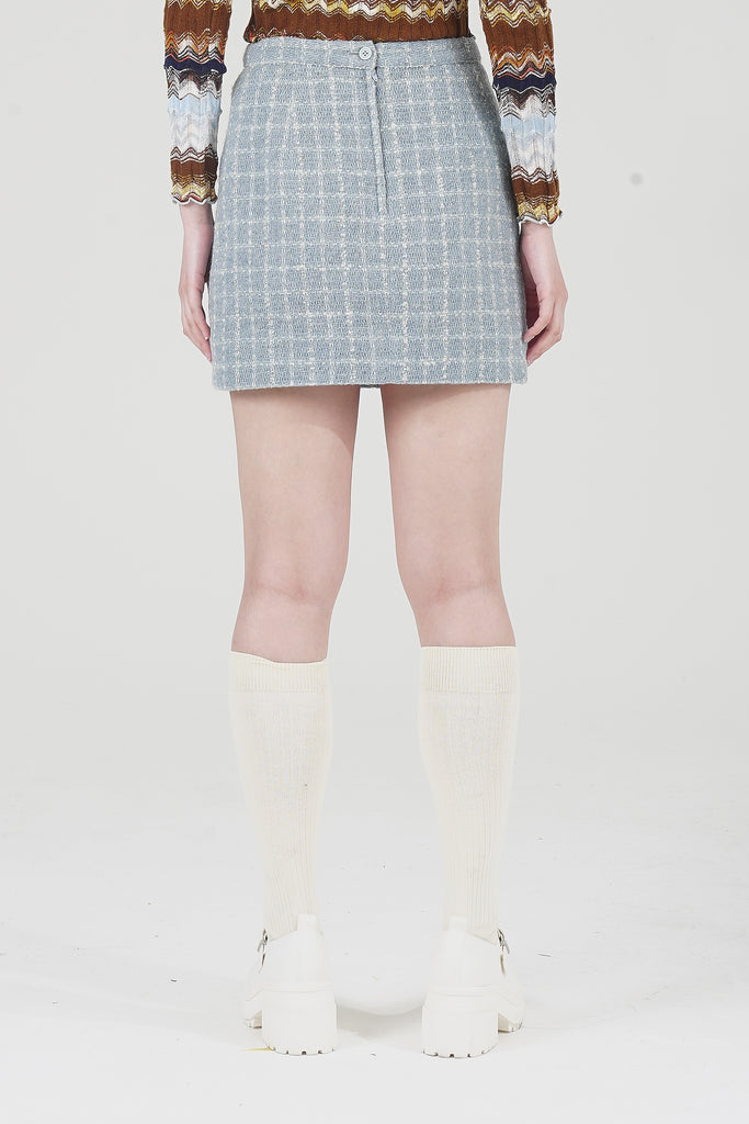 Vintage Marchese Coccaparni Light Blue Tweed Mini Skirt