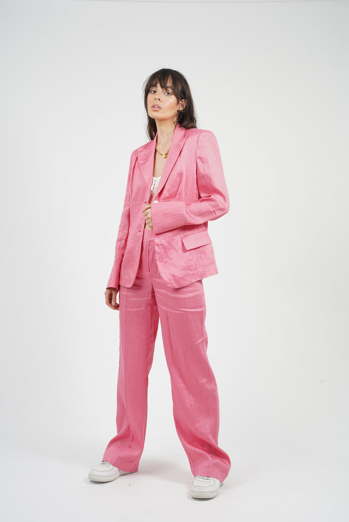 Vintage 90's Hot Pink Linen Pinestripe Suit