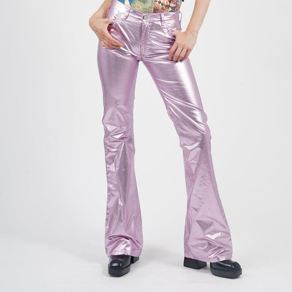 Vintage 90's Dead Stock Metallic Lilac High Waisted Flared PVC Trousers