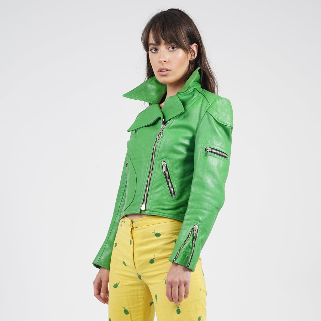 Vintage 70's Apple Green Harro Leather Biker Jacket