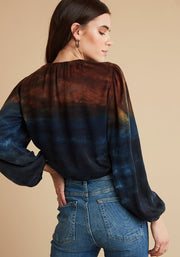 Autumn Sky Shirred Top