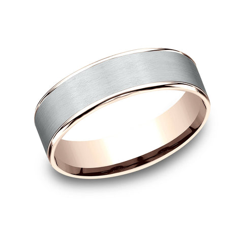Benchmark White and Rose Gold Men's Wedding Band The Rembrandt