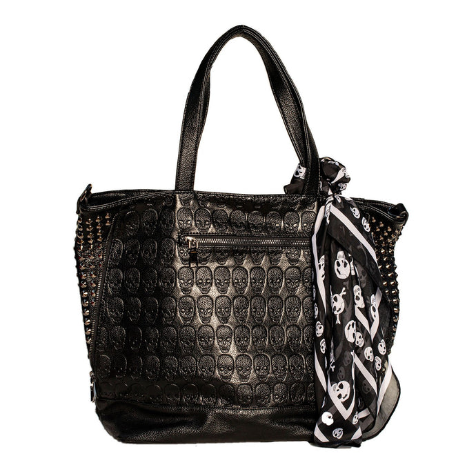 BLACK LARGE SKELETON HANDBAG WITH REMOVABLE PURSE