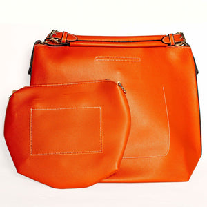 ORANGE TOTE HANDBAG WITH REMOVABLE PURSE  SHORT HANDLES
