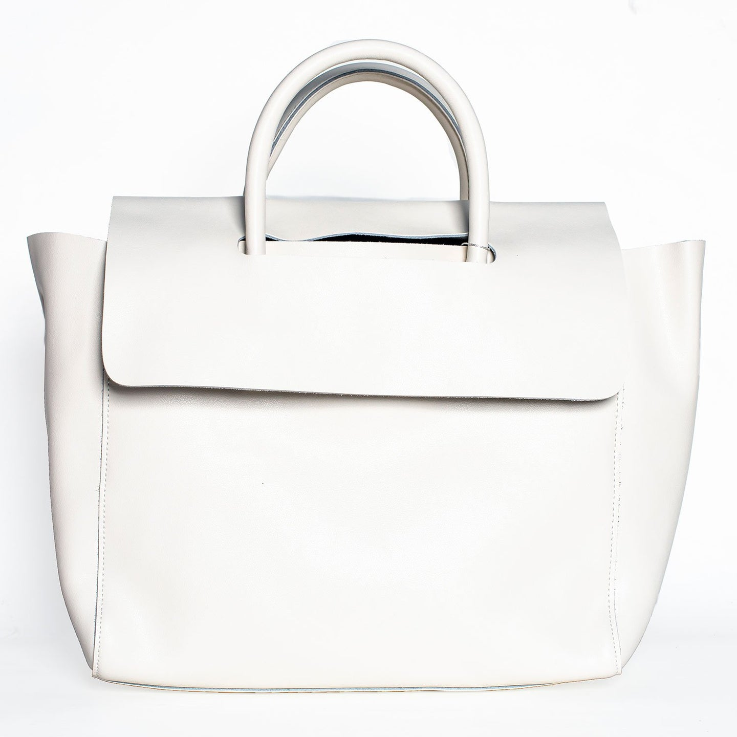 WHITE MODERN TOTE BAG WITH REMOVABLE PURSE