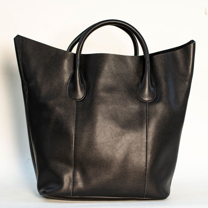 BLACK TOTE HANDBAG WITH REMOVABLE PURSE