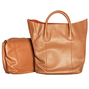 BROWN TOTE HANDBAG WITH REMOVABLE PURSE