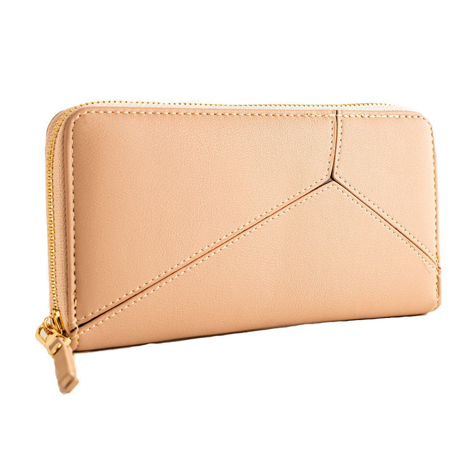APRICOT WOMEN LONG ZIPPER CLUTCH PURSE WITH WRIST STRAP