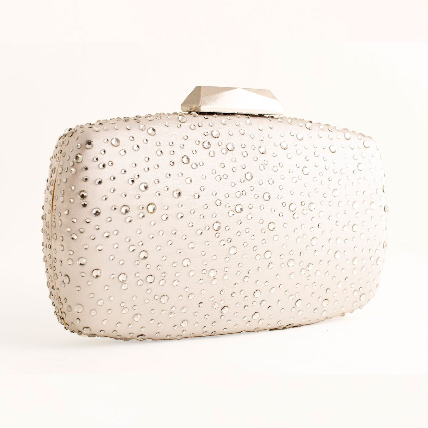 SILVER GREY CLUTCH EVENING BAG WITH SPARKLE CRYSTALS