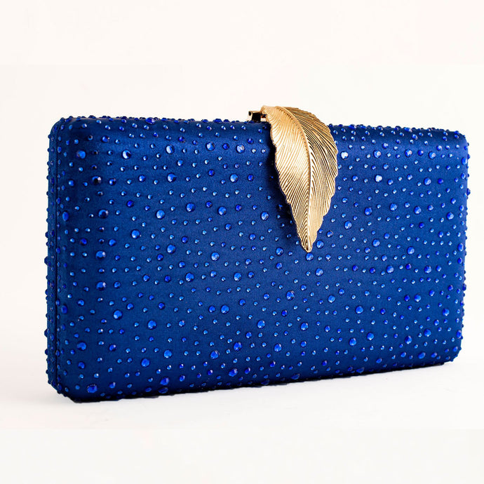ROYAL BLUE CLUTCH BAG ELEGANT GLITTER WOMEN EVENING CRYSTAL BAG