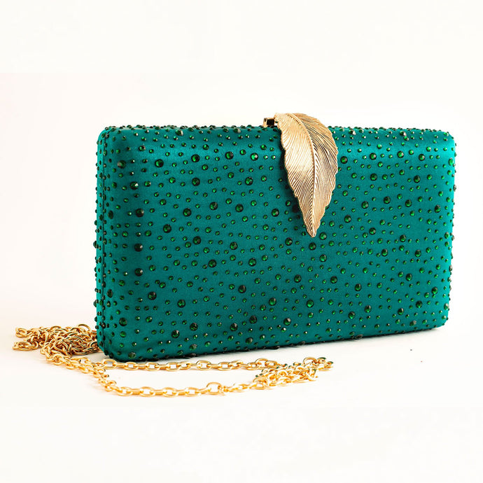 GREEN CLUCTH BAG ELEGANT GLITTER WOMEN CRYSTAL EVENING BAG