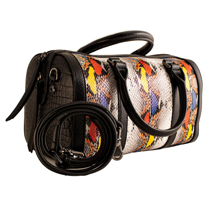 LADIES HANDBAG WITH BLACK  YELLOW SPOTS SNAKE PRINT