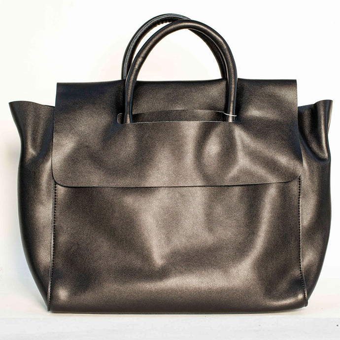 BLACK MODERN TOTE BAG WITH REMOVABLE PURSE