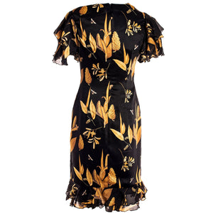 BLACK &  GOLD FLORAL DRESS