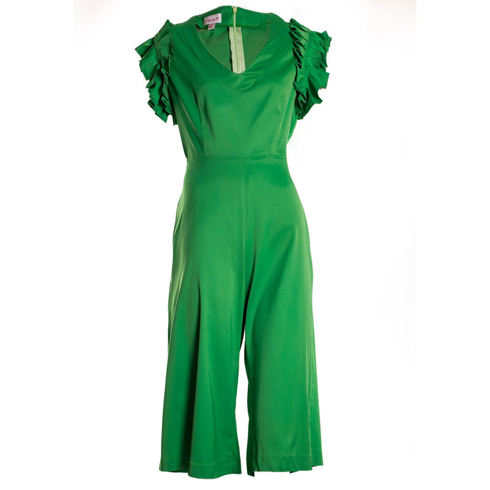 GREEN SHORT JUMPSUIT WITH FRILL CUFF