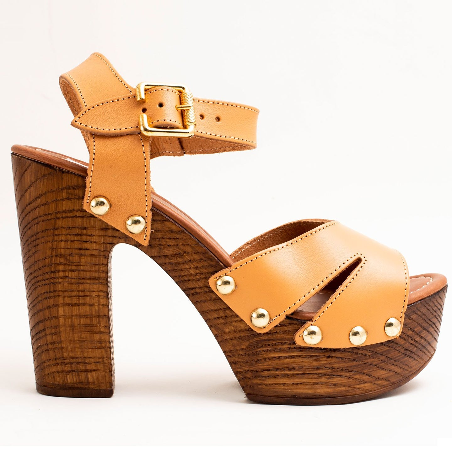 LIGHT BROWN PLATFORM SANDALS WITH CROSSING PEEP-TOE ANKLE STRAP