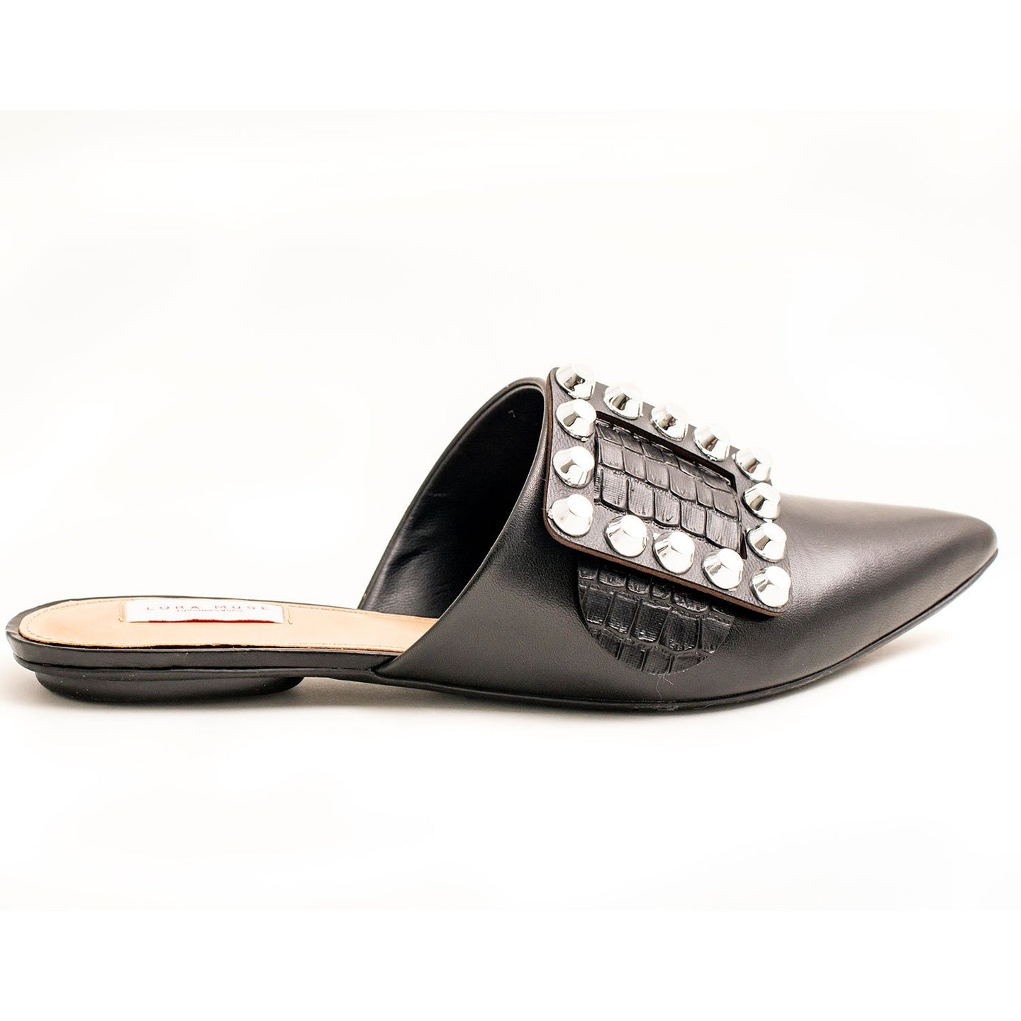 BLACK SPIKE STUD SLIDE SANDALS