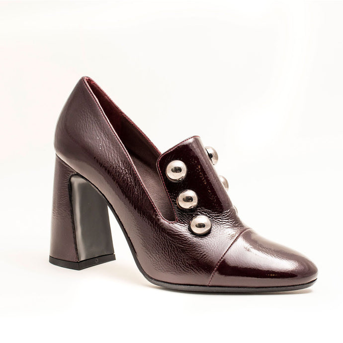 MAROON LADIES HIGH HEELS WITH STUDS