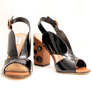 BLACK & BROWN OPEN TOE BLOCK HEELS