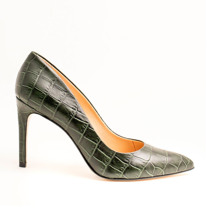 OLIVE GREEN LADIES CROCO HEELS