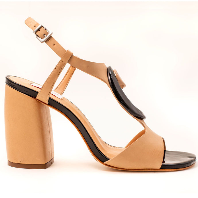BLACK & BEIGE TWO TONE ANKLE STRAP BLOCK HEELS