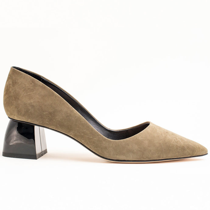 OLIVE GREEN LOW BLOCK HEEL PUMP IN FAUX SUEDE