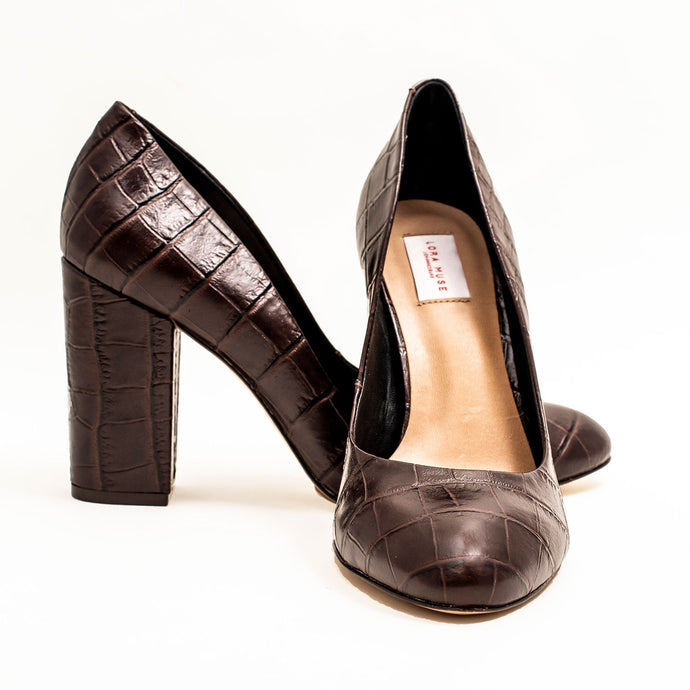 BROWN BLOCK OFFICE HEELS