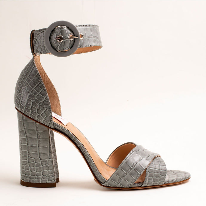 GRAY CROCO LADIES HEELS