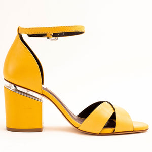 YELLOW BLOCK ANKLE STRAP HEELS