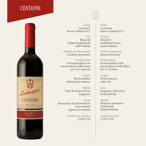 Lamborghini: Centanni Umbria Red - Bottle Buzz Liquor