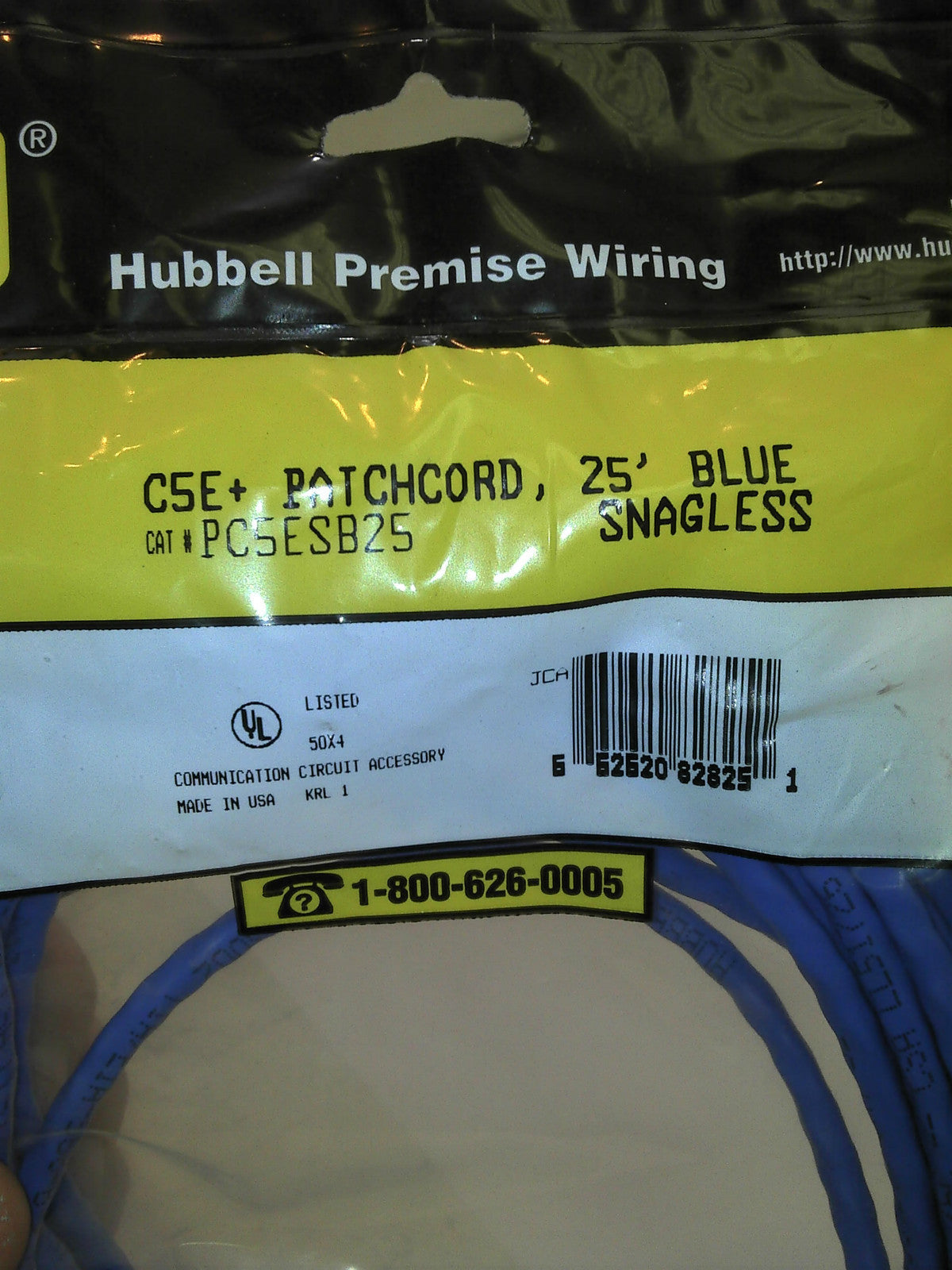 Hubbell 25-Foot RJ45 CAT 5e Snagless Molded Patch Cable (Blue ...