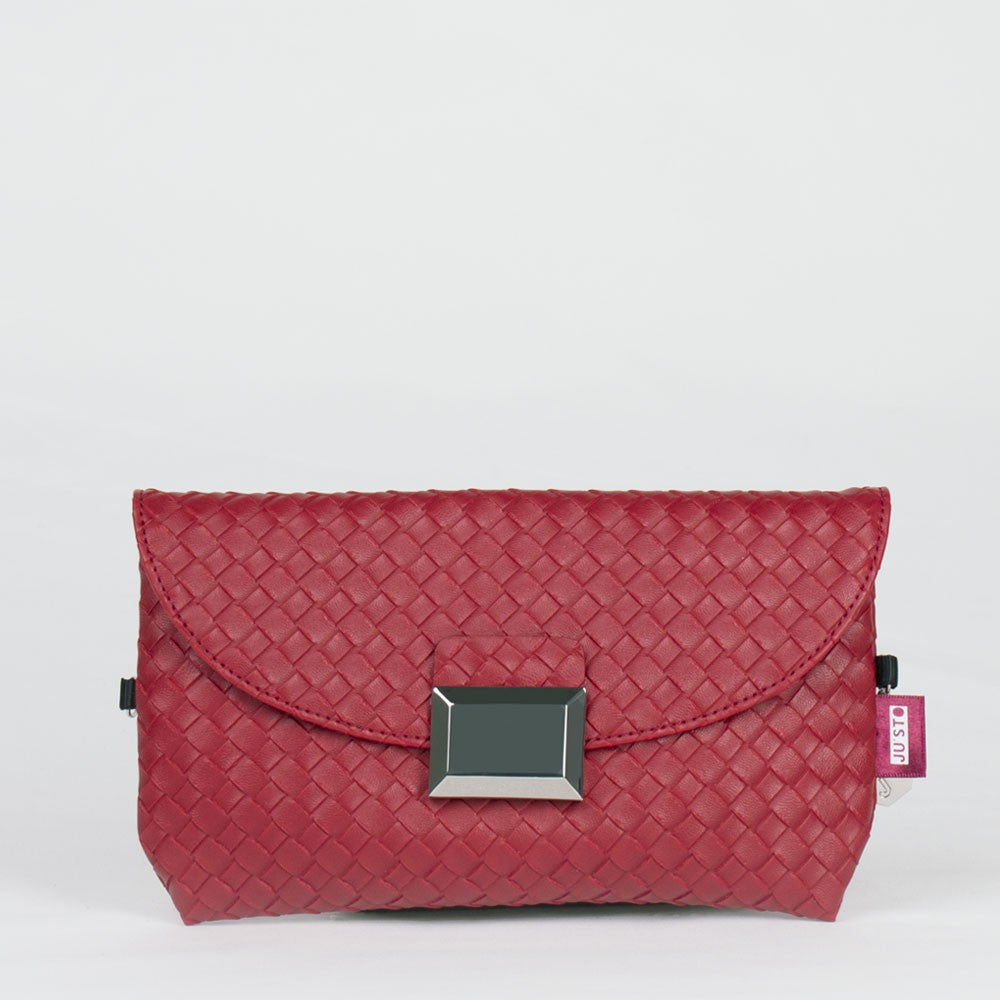 J- POSH BAG WEAVING ECOPELLE ROSSO