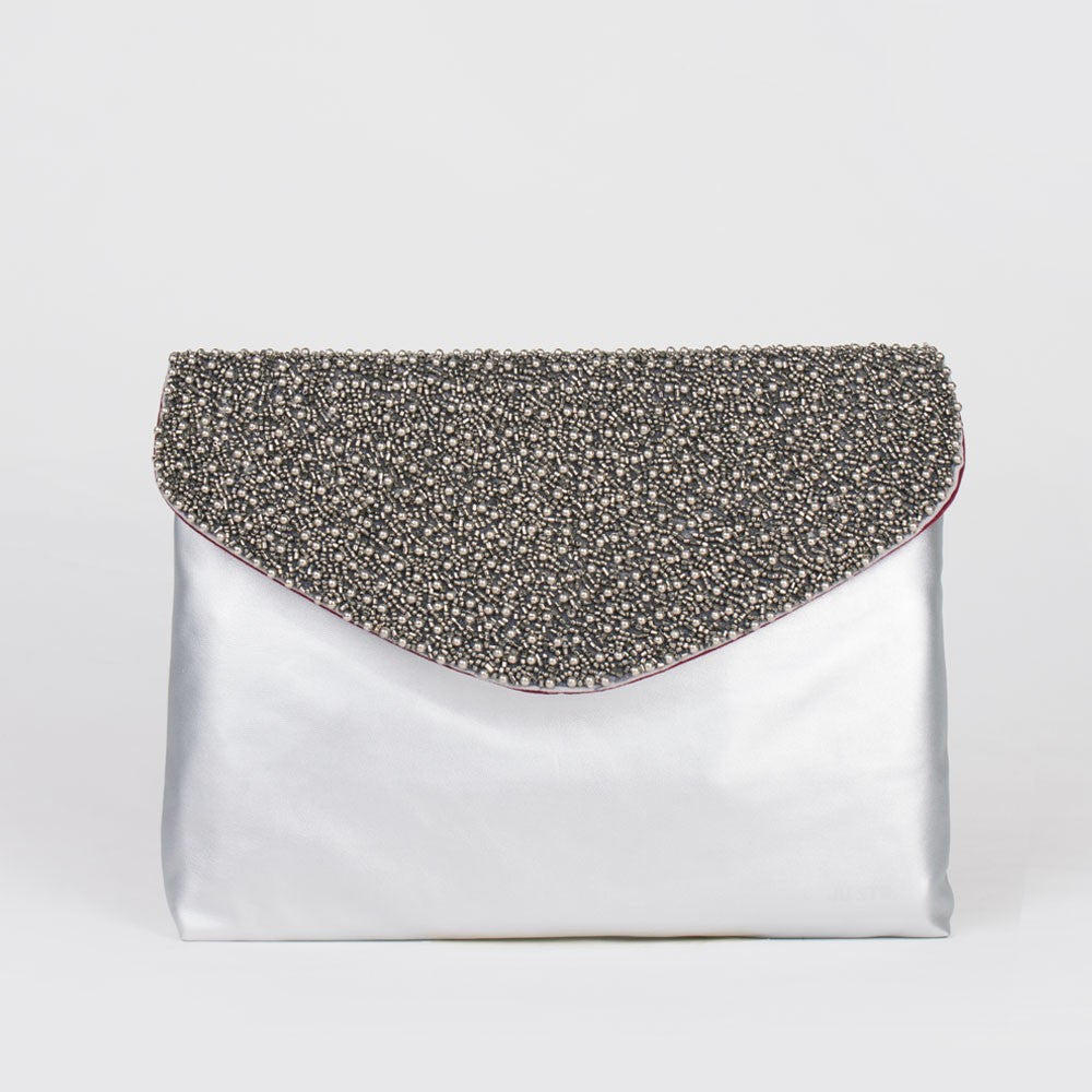 J-CLUTCH ALLOVER STUDS SILVER