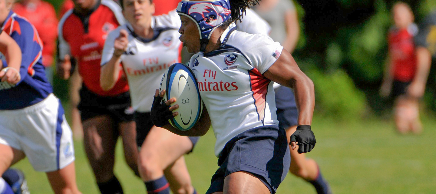 Phaidra founder of PSK Collective playing Rugby