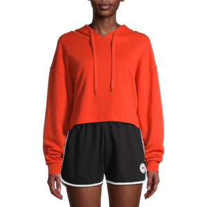 PSK Collective Women's Juniors' Terry Cropped Hoodie Sweatshirt