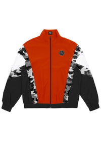 Red, black and white jacket