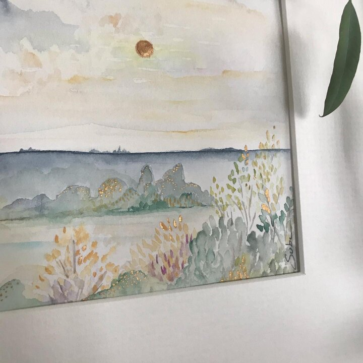 Morning Light a Landscape painting in Watercolor by Suba