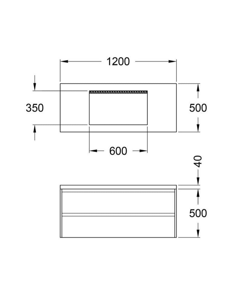 Load image into Gallery viewer, CONCRETE VANITY UNIT SPEC SHEET DIMENSIONS