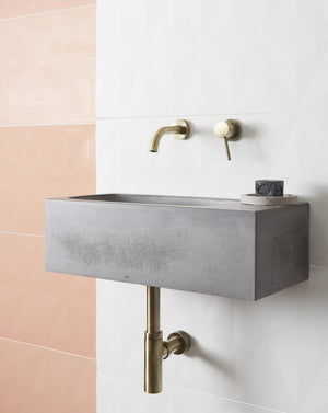 Core Pod concrete wall mounted basin grey side view