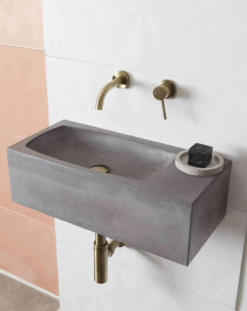 Core Pod concrete wall mounted basin grey