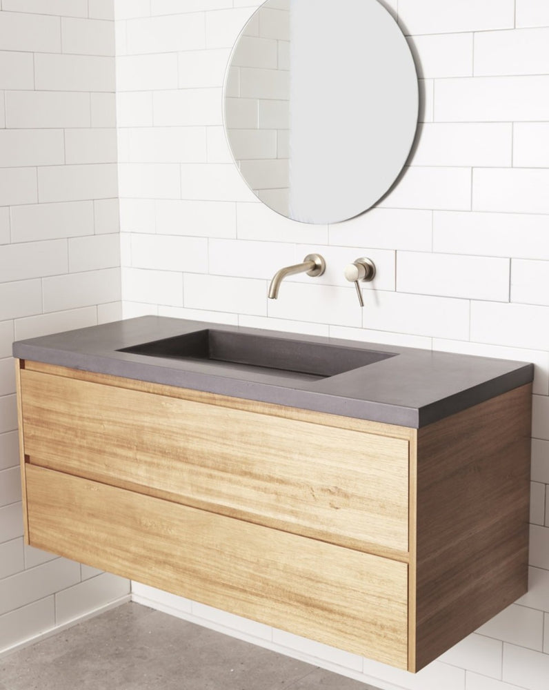 Load image into Gallery viewer, CONCRETE TOP WITH TIMBER BATHROOM VANITY UNIT