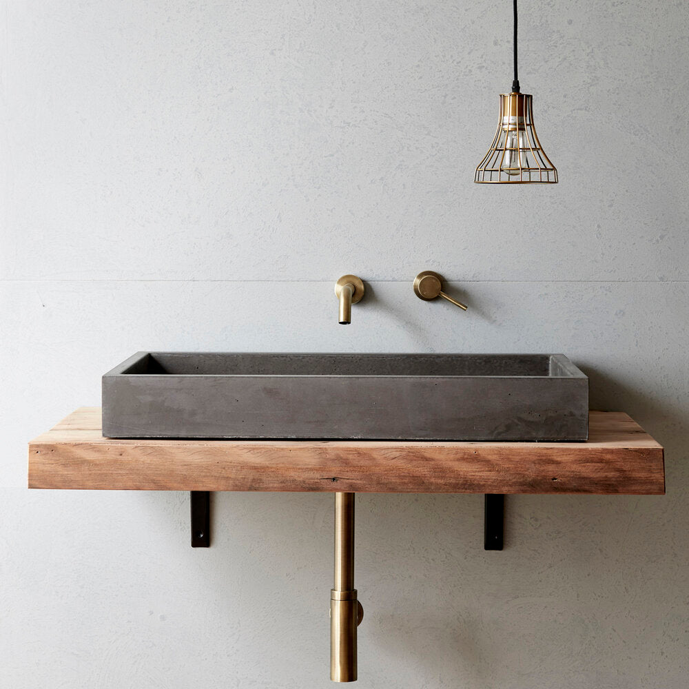 Load image into Gallery viewer, Concrete Nation cube bench mounted basin charcoal