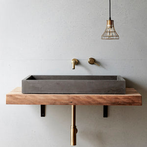 Concrete Nation cube bench mounted basin charcoal