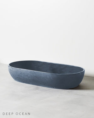 Arc Concrete Bench Mounted Basin Deep Ocean