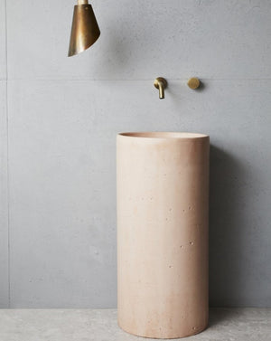 COMO FREESTANDING CONCRETE BASIN DUSTY PINK IN BATHROOM