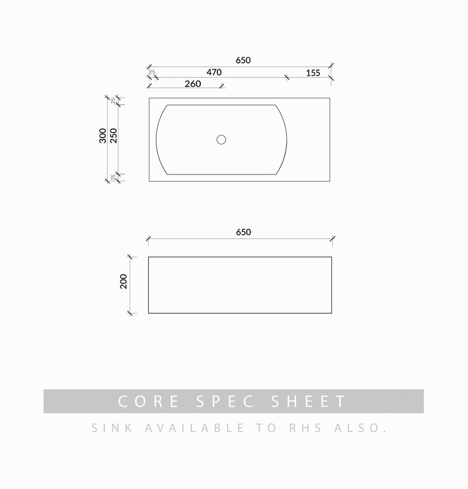 Core Pod concrete wall mounted basin spec sheet dimensions